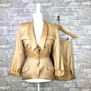 Iconic 1980's Thierry Mugler Vintage Silk Suit XXS